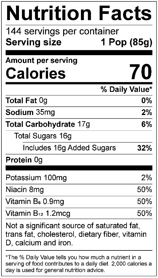 All Sport Body Quencher – Freezer Pops Nutrition facts