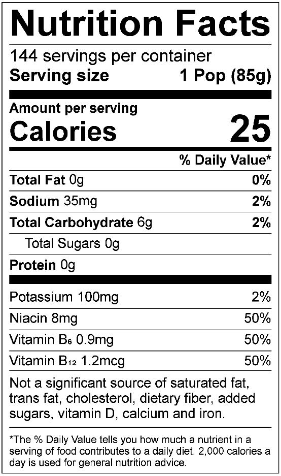 All Sport Sugar Free – Freezer Pops Nutrition facts