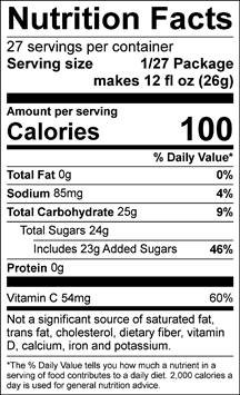 All Sport Body Quencher – Drink Mix – Orange – 2.5 gal Nutrition facts