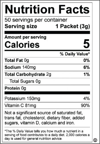 All Sport Zero 50ct – Drink Mix – Variety Case Nutrition facts