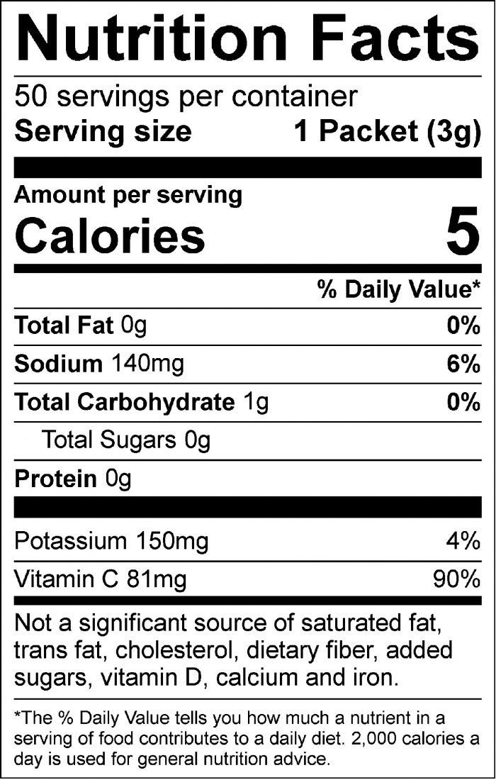 All Sport Zero – Drink Mix – Strawberry Banana – 50ct Nutrition facts